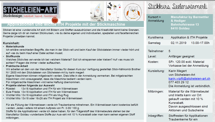 Applikation & ITH Projekte Stickkurs 2.11.19