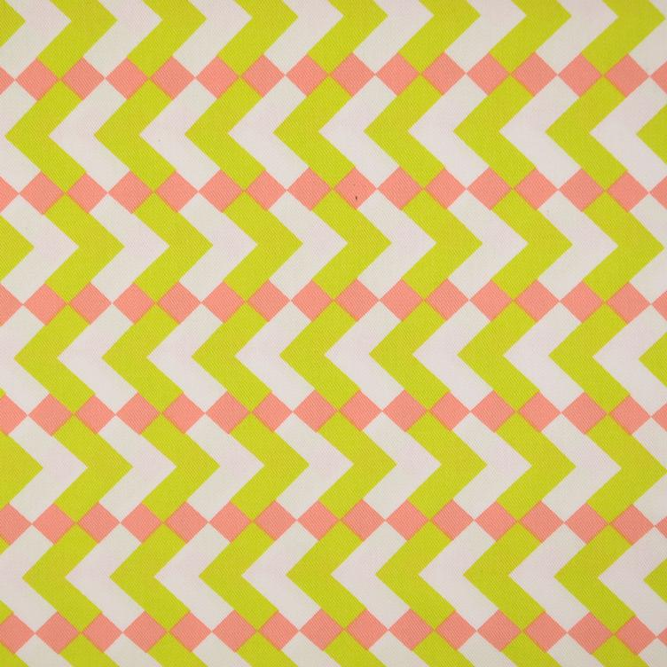 BW-Twill Chevron coral-lime