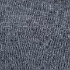coated linen denim blue