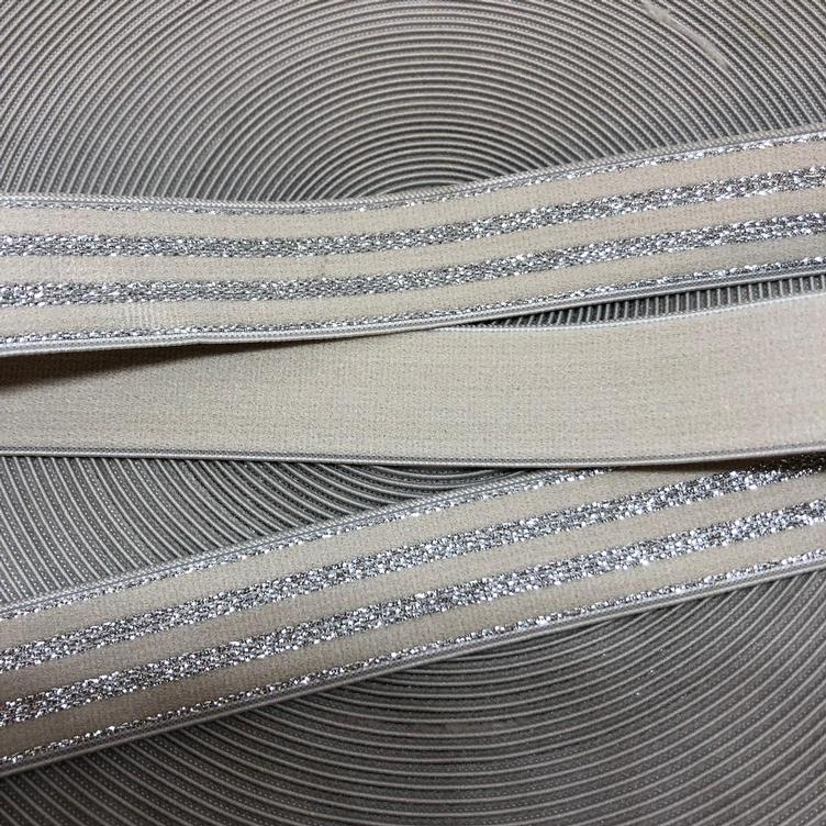 Elastband Glimmer-Stripes beige