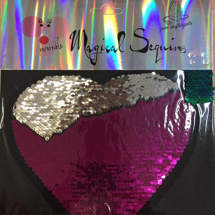 Magical Sequins Heartbeat Herz silber pink