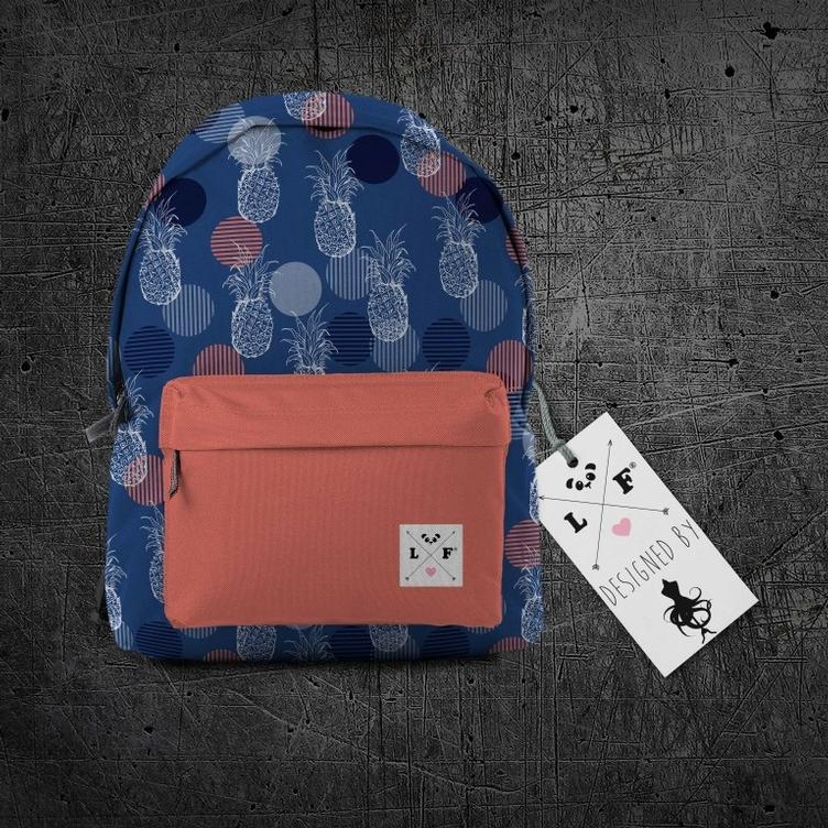 Oxford Rucksackstoff Blue Pineapple