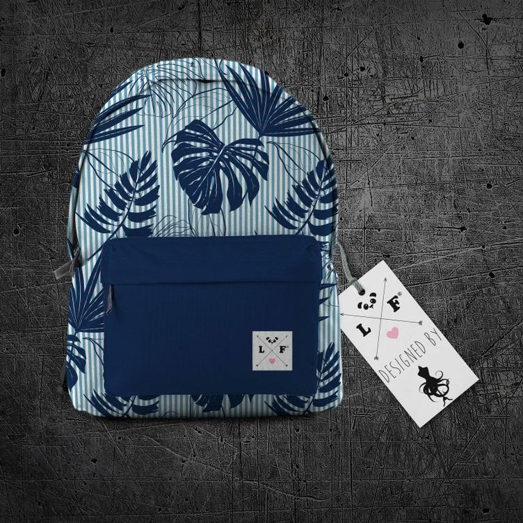 Oxford Rucksackstoff Palm Beach Navy
