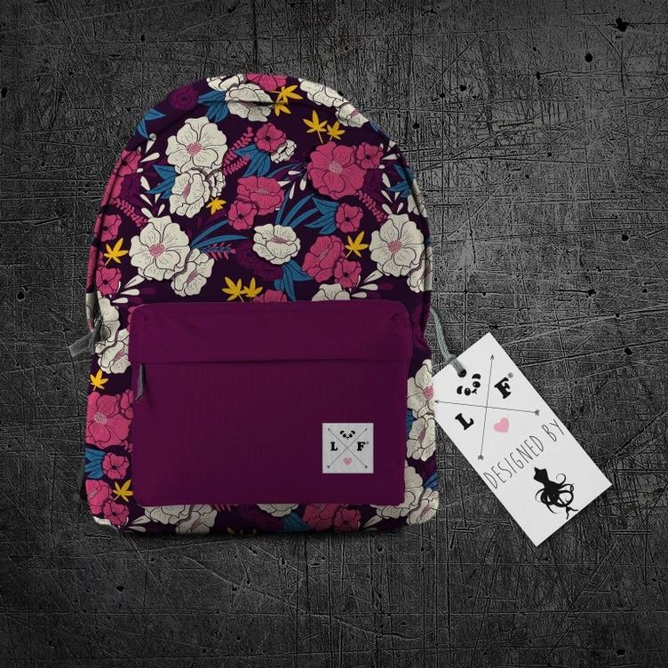Oxford Rucksackstoff Purple Flowers